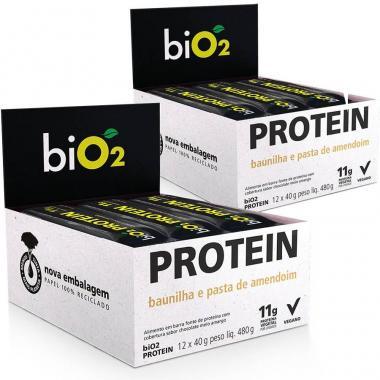 Kit 2 Caixas Bio2 Protein Bar Organic (24 barras) - Baunilha e Amendoim