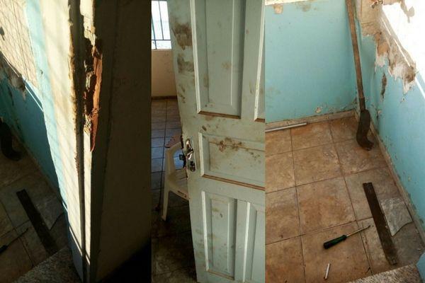 Suspeita-se que a porta do depósito da loja de perfumaria foi arrombada com uma chave de fenda e foice (Foto: Portal da Cidade Umuarama)