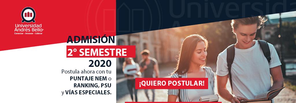 Admisión segundo semestre 2020 UNAB