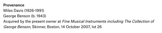 Miles Davis trumpet's provenance