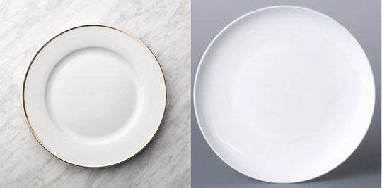 rimmed dinnerware plate (left), coupe plate (right)