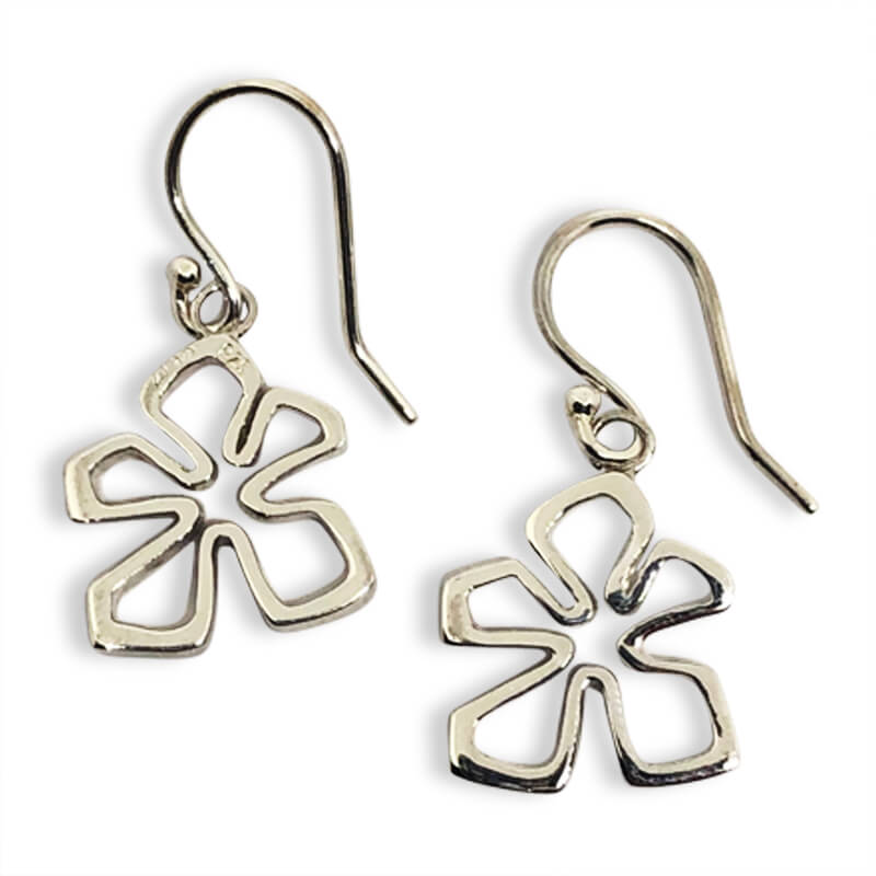 Sterling silver tiki flower drop earrings