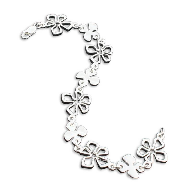 Sterling silver flower tiki bracelet