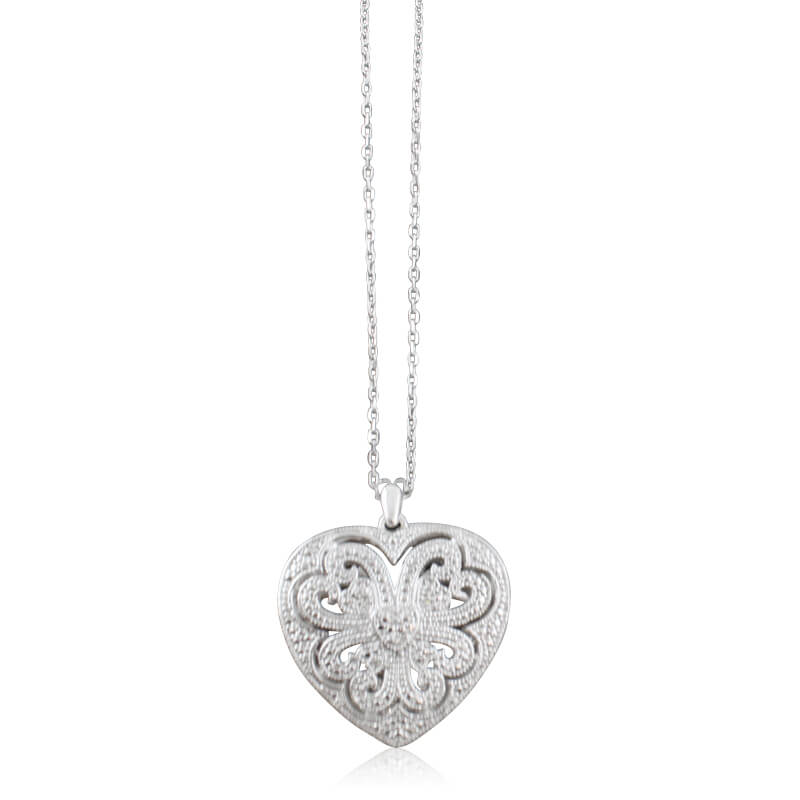 Sterling silver and diamond heart locket