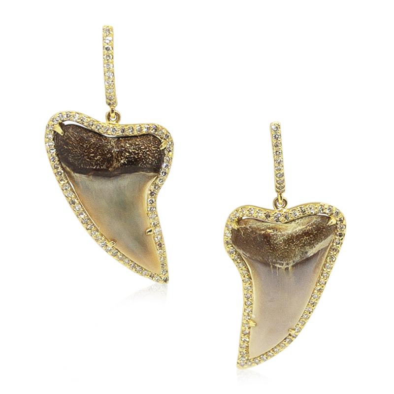 Sharkstooth & Diamond Earrings
