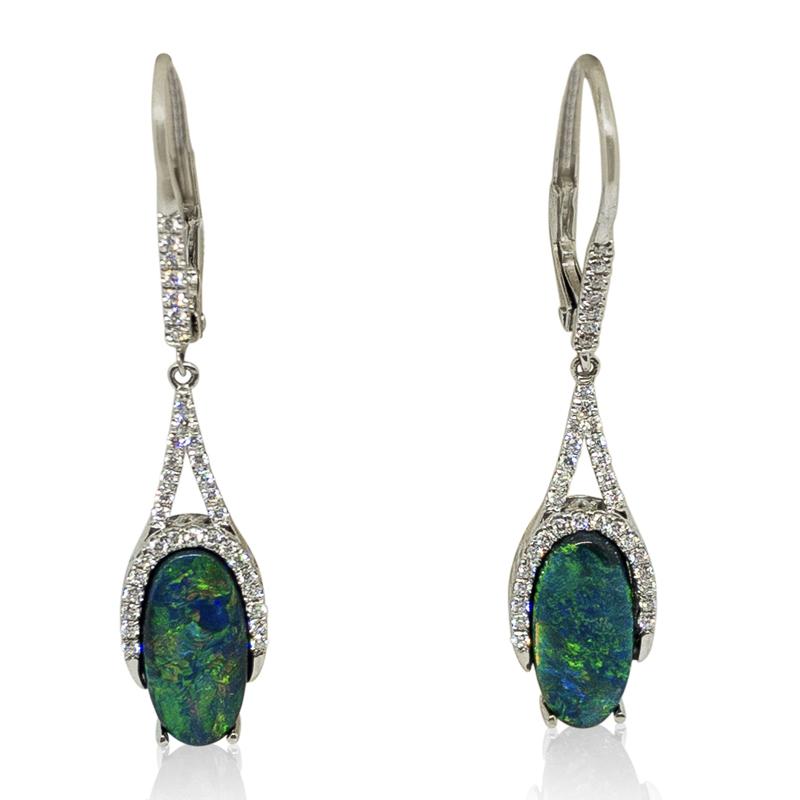 Australian Black Opal Dangle Earrings