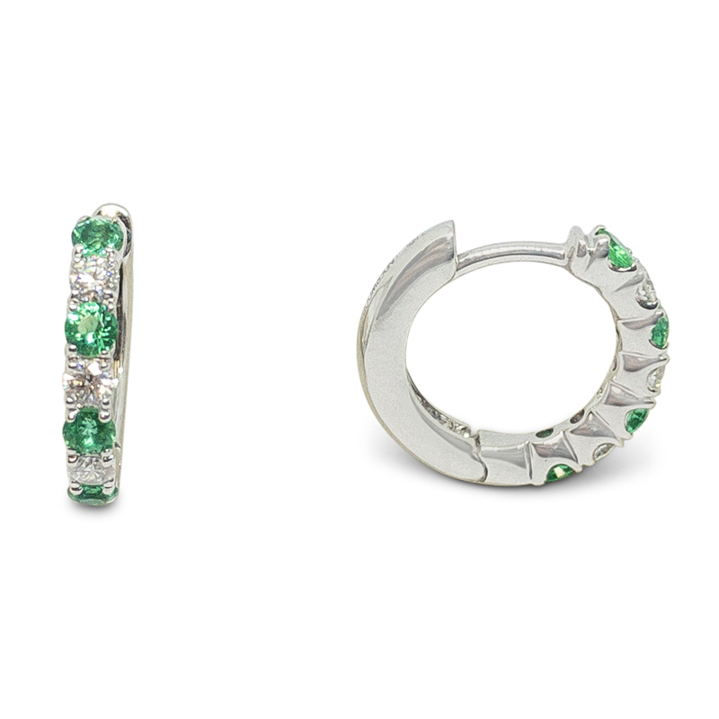 Emerald & Diamond Huggie Hoops
