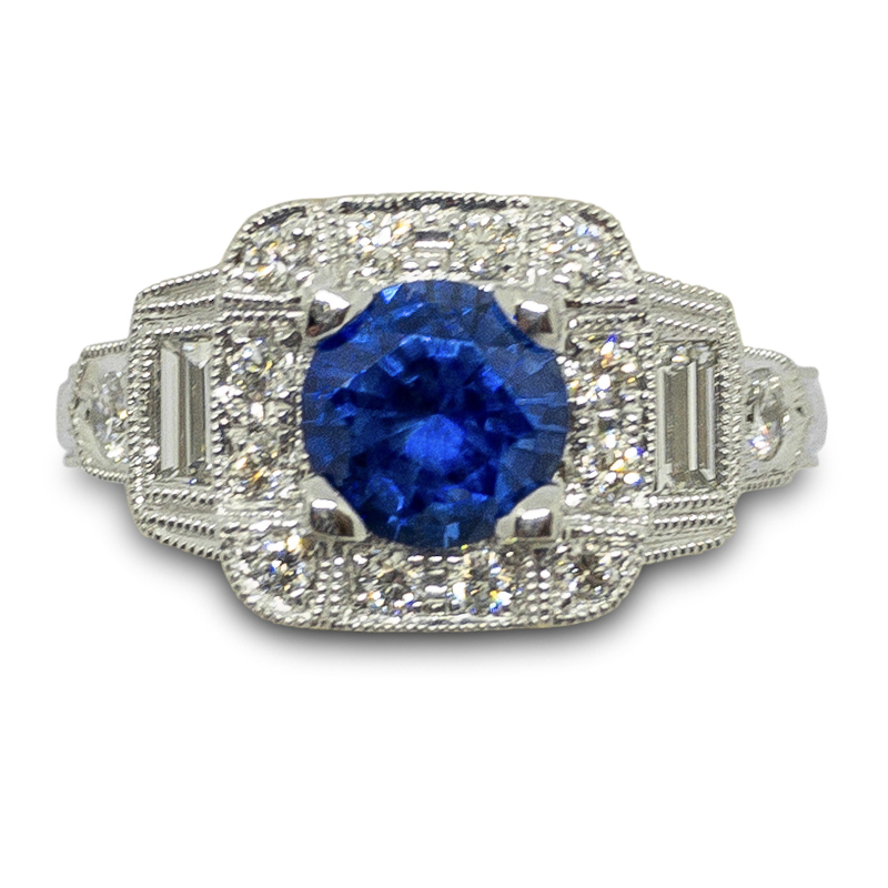 Antique Style Ceylon Sapphire Ring