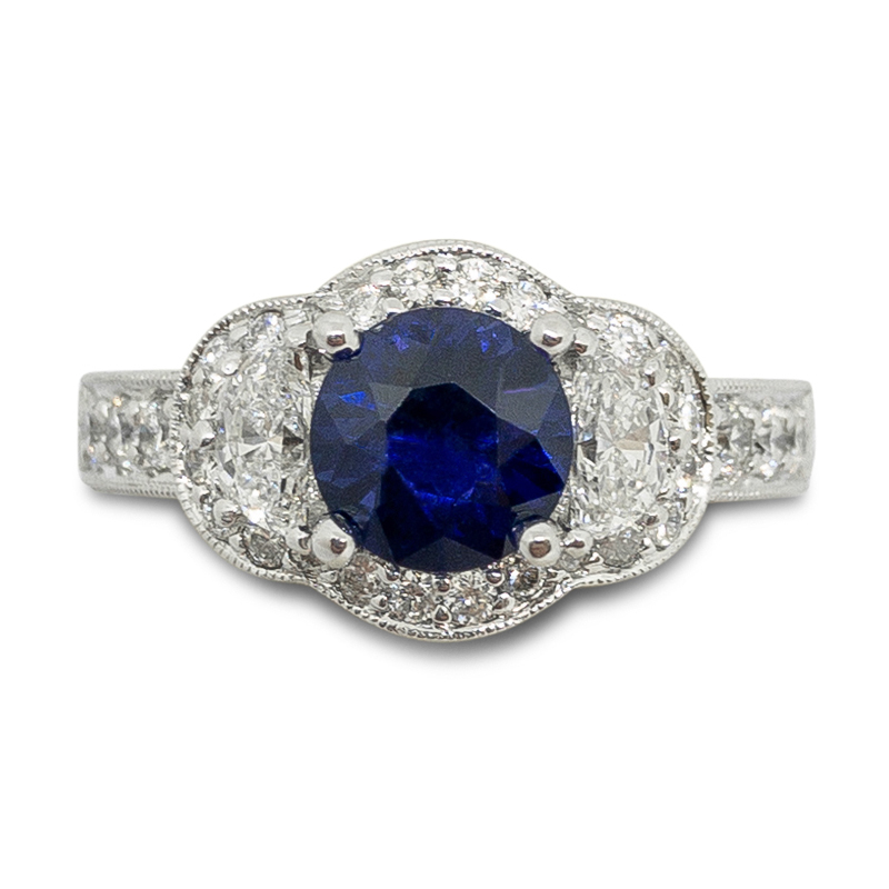 Sapphire & Diamond Vintage Style Ring