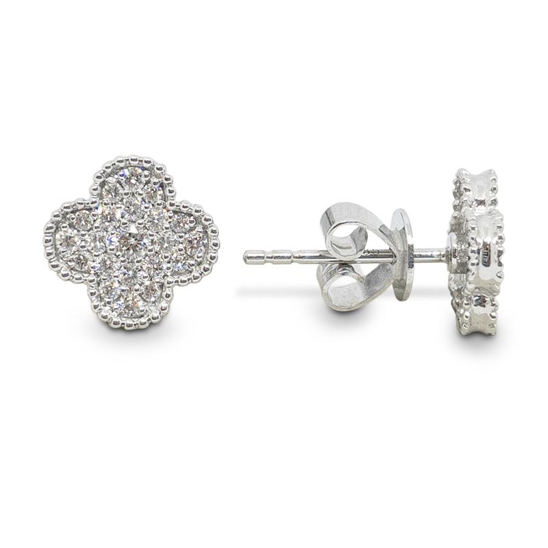 Pavé Clover Stud Earrings