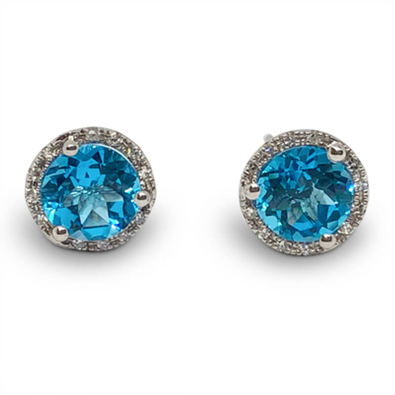 2.25ct. Blue Topaz Stud Earrings