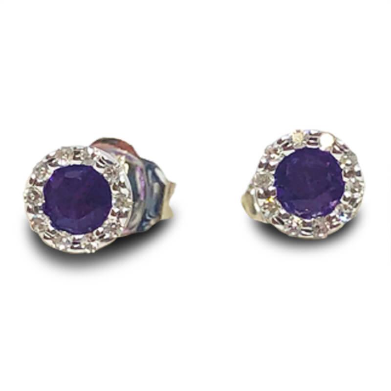 Amethyst & Diamond Stud Earrings