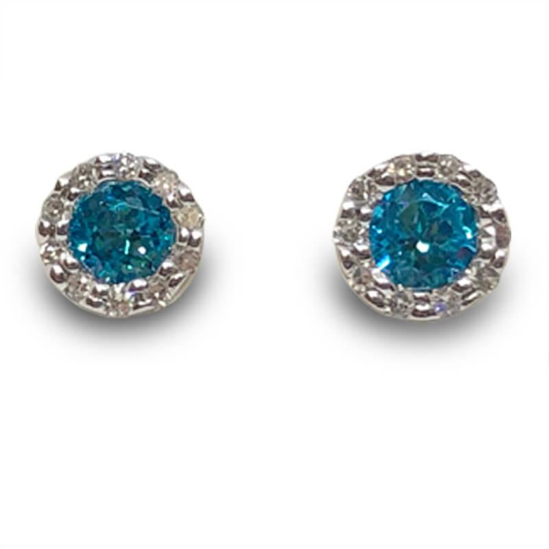 Blue Topaz & Diamond Studs