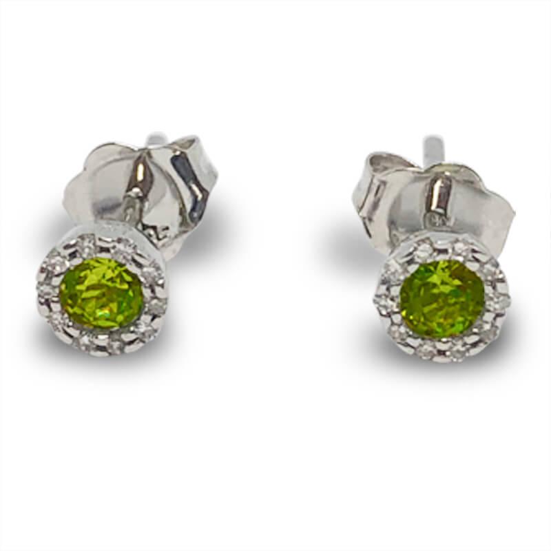 Peridot & Diamond Stud Earrings