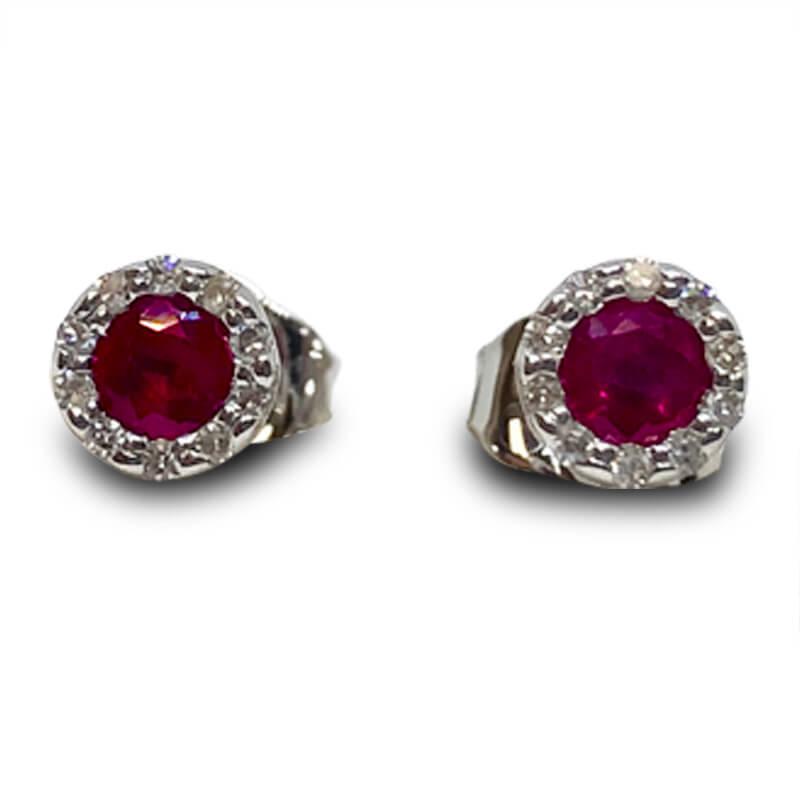 Ruby & Diamond Halo Studs