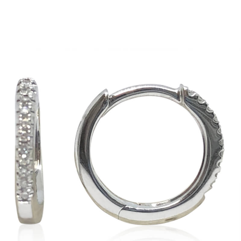 Small Huggie Diamond Hoops