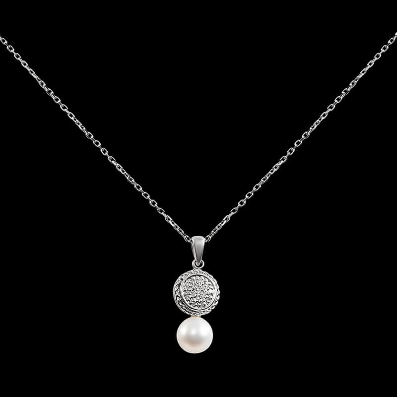 Sterling silver 7mm freshwater pearl drop necklace with diamonds.