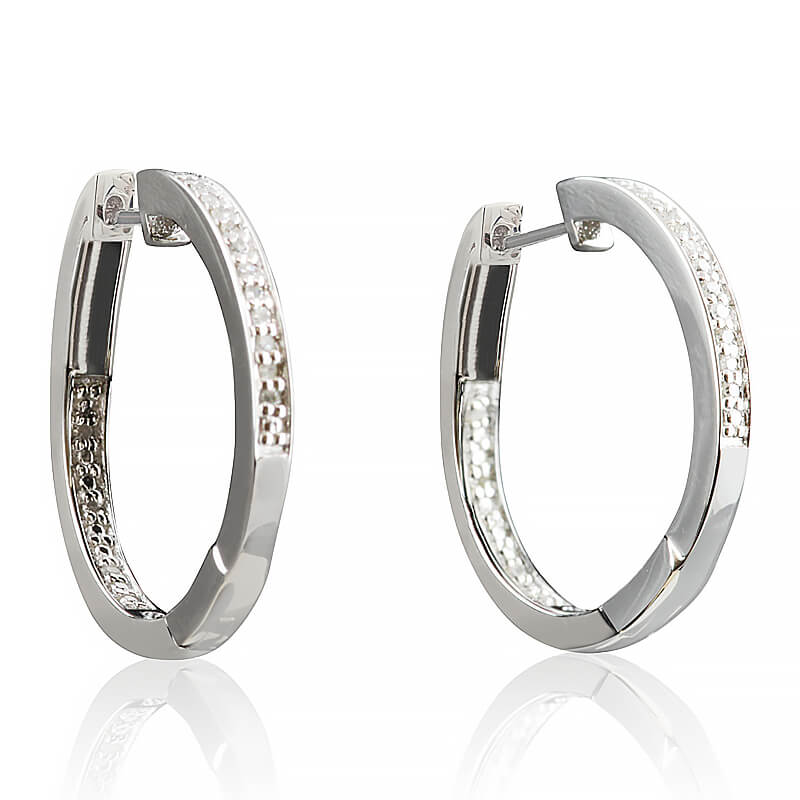 Sterling Silver Diamond Hoops