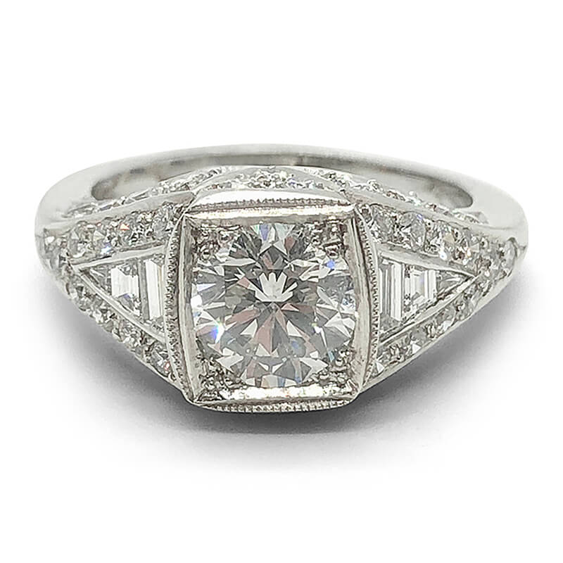 Round & Baguette Wide Diamond Ring