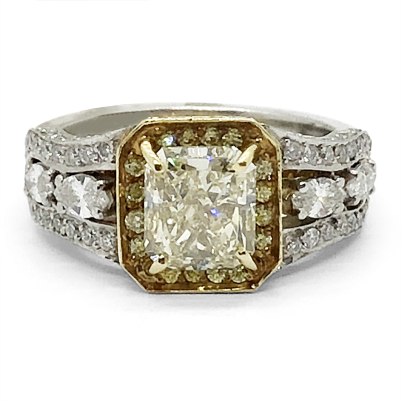 Fancy Light Yellow Cushion Cut Diamond Ring