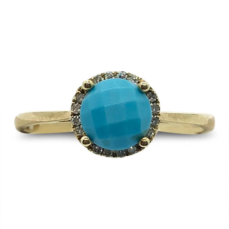 Turquoise Diamond Halo Ring