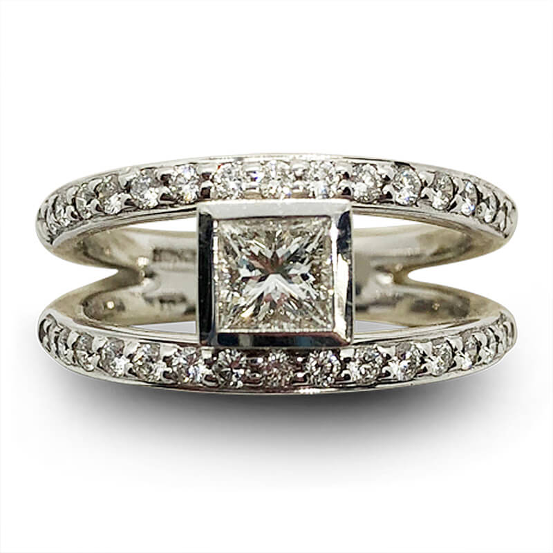 Princess Cut Split Shank Diamond Ring