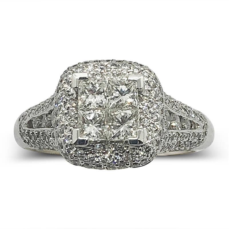 Princess Cut Pave Diamond Ring