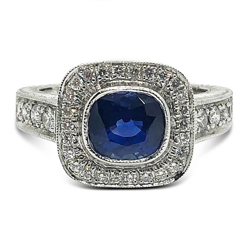 Unheated Blue Sapphire & Platinum Ring