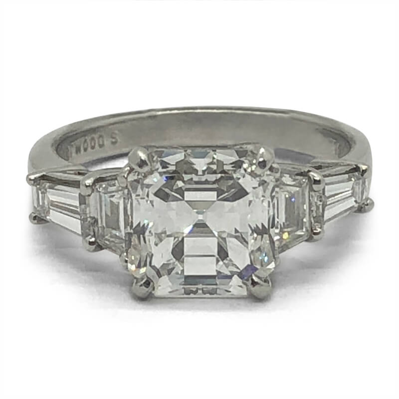 Platinum Asscher & Baguette Diamond Ring