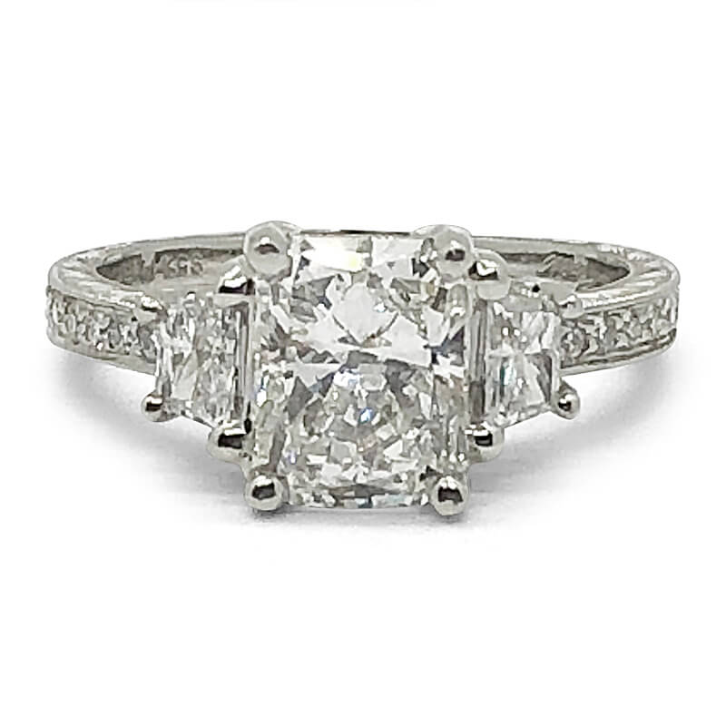 Three Stone Radiant Diamond Enagement Ring