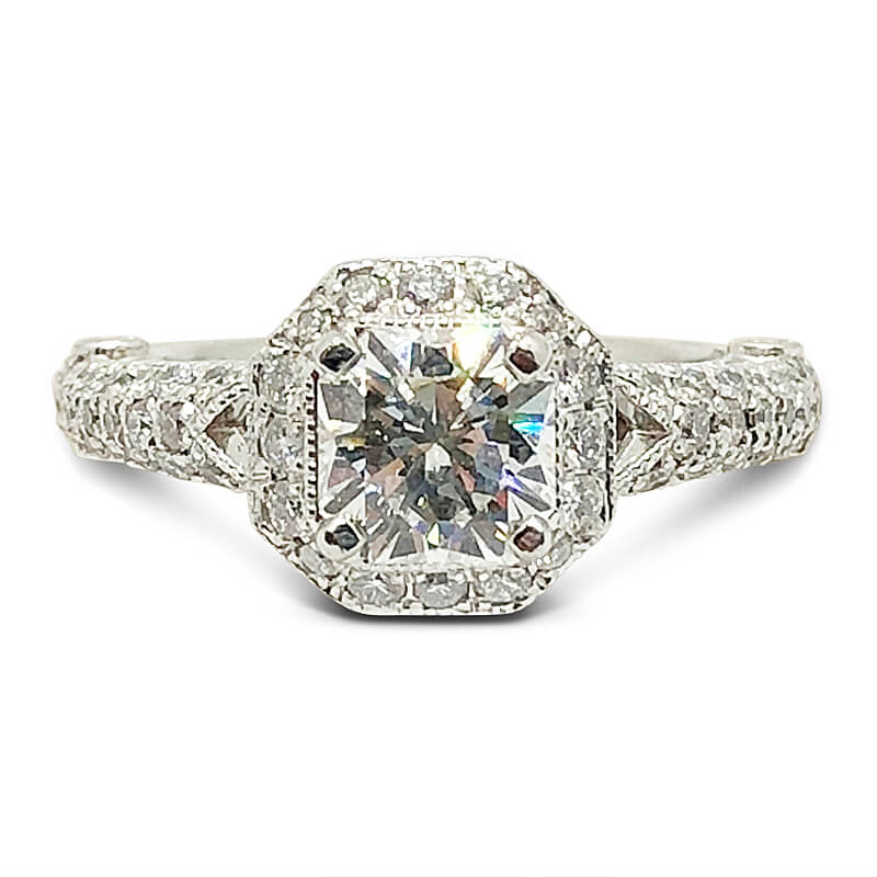 Elara Cut Halo Diamond Engagement Ring
