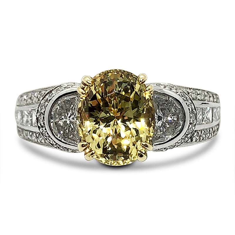 Platinum Oval Yellow Sapphire & Diamond Ring