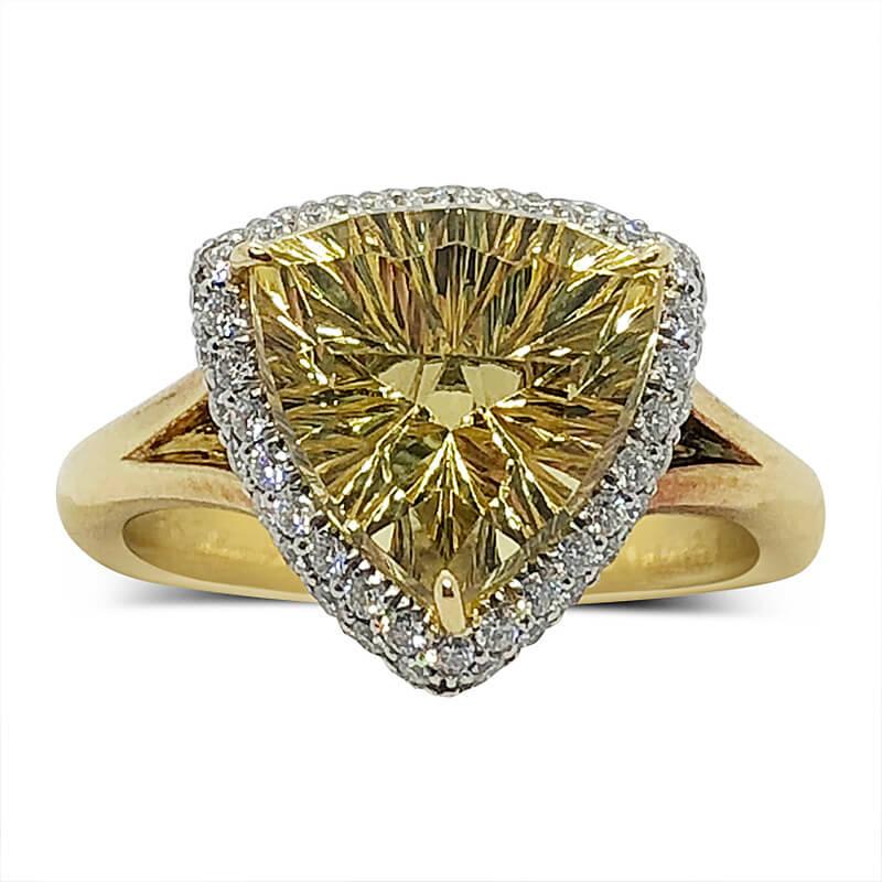 Golden Beryl & Diamond Ring