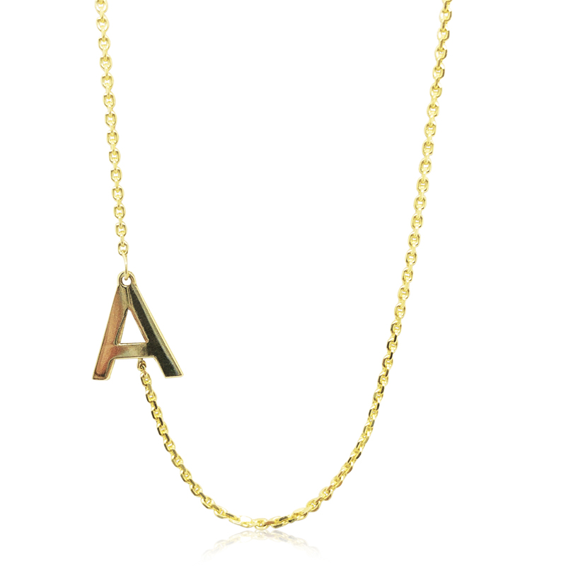 """A"" Initial Block Necklace"