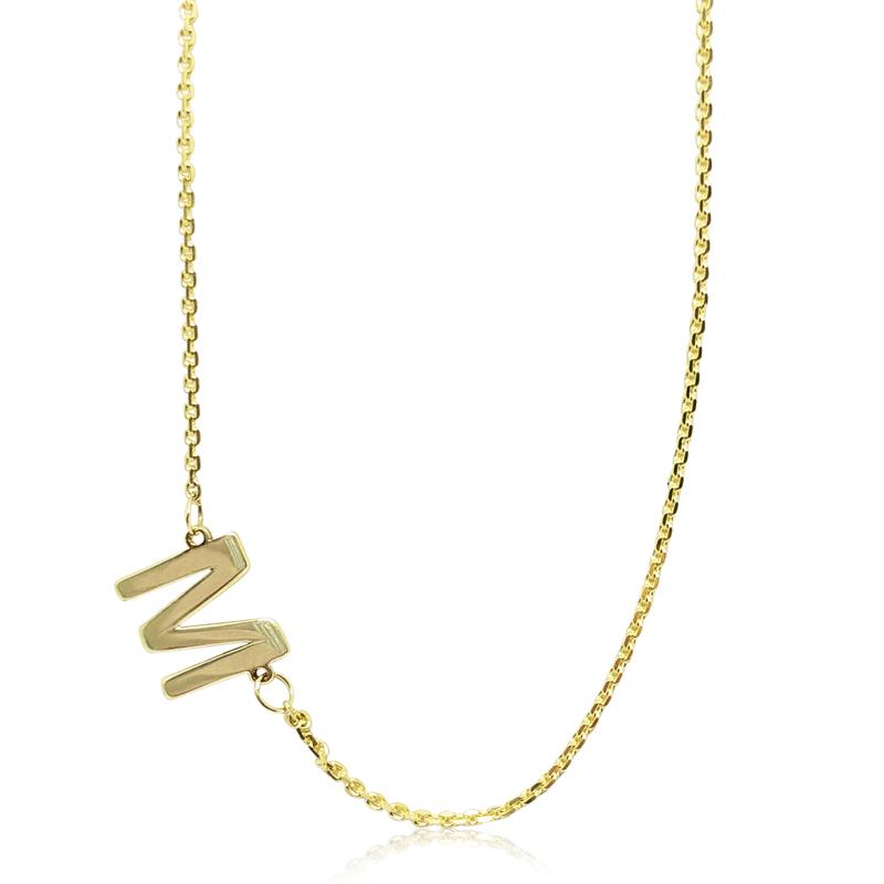 """M"" Initial Block Necklace"
