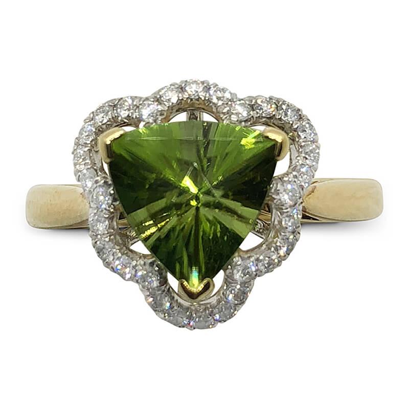 Trilliant Peridot & Diamond Ring