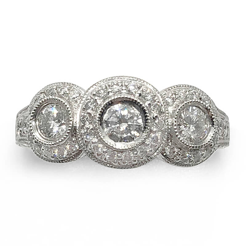 3 Diamond Antique Style Ring