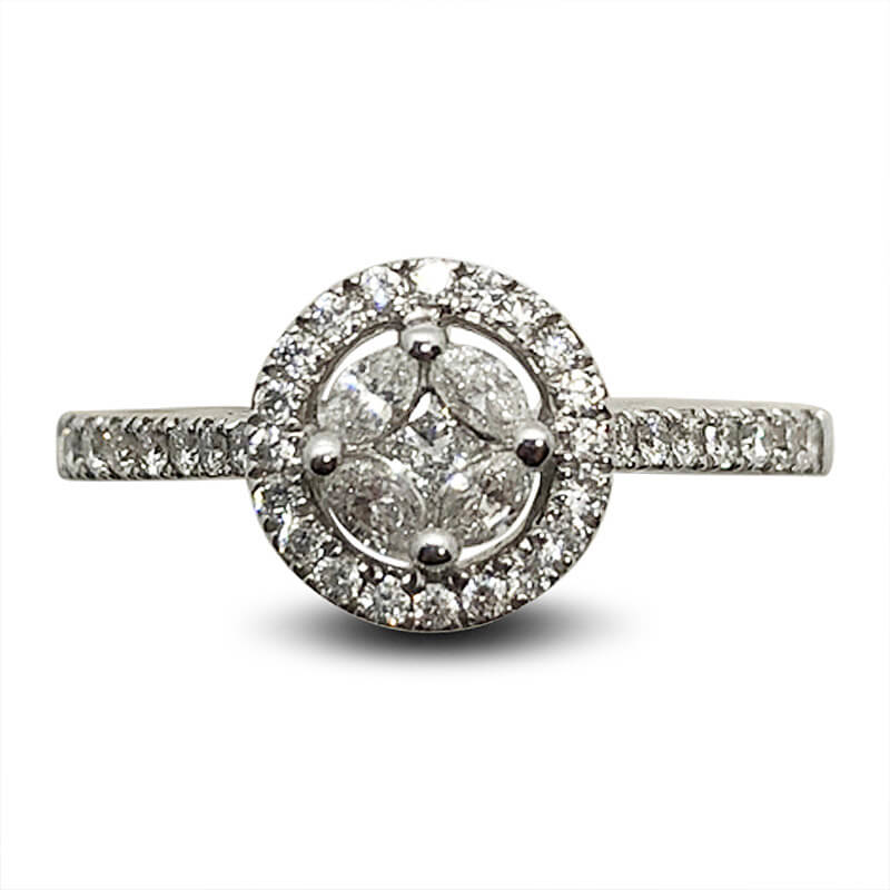 Cluster Diamond Ring with Diamond Shank