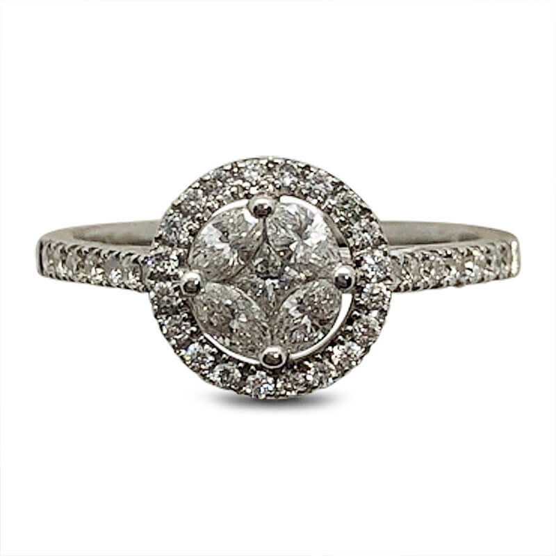 18kt. White Gold Cluster Ring with Diamond Halo