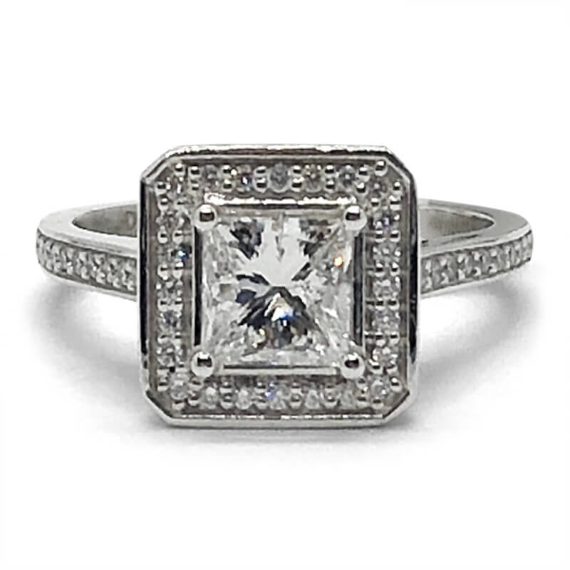 One Carat Princess Cut Diamond Halo Ring