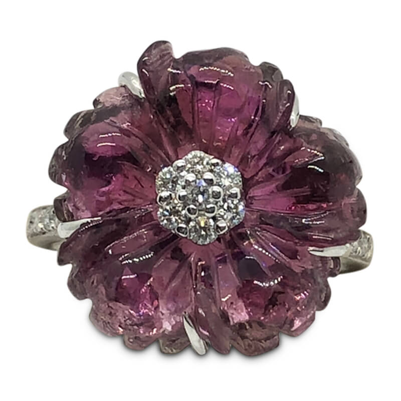 Carved Pink Tourmaline Ring