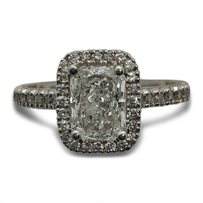 Diamond Halo Radiant Engagement Ring
