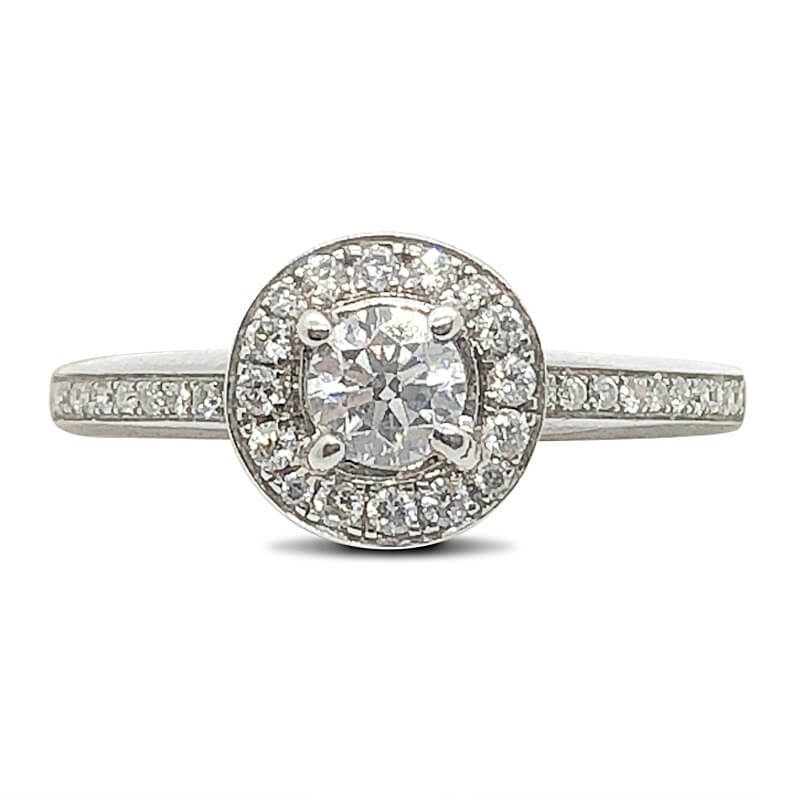Round Diamond Halo & Shank Ring