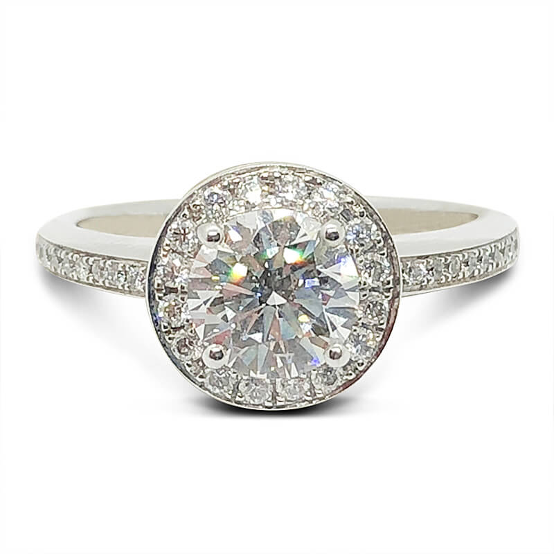 Platinum Round Diamond Halo Ring
