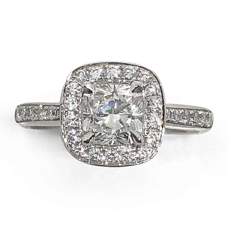 Square Radiant Halo Diamond Ring