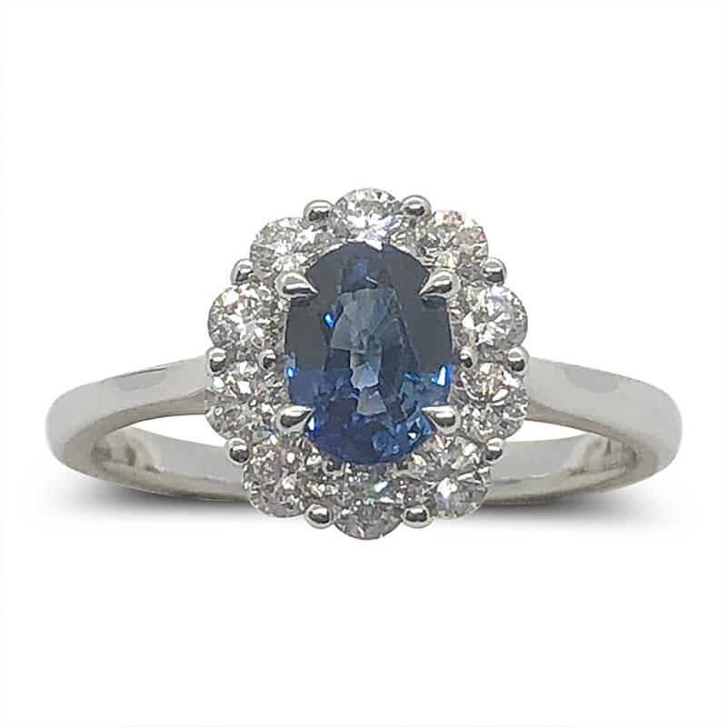 Diamond Halo & Sapphire Ring