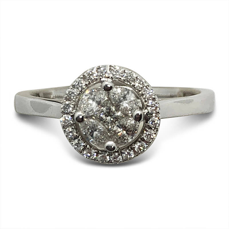 18kt. White Gold Cluster Engagement Ring