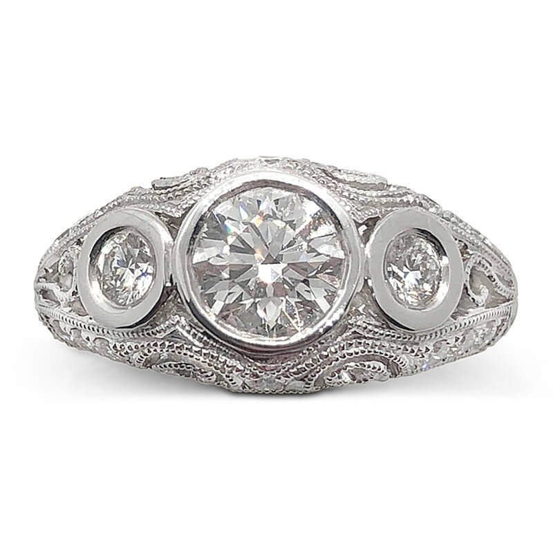Swirl Antique Style Engagement Ring