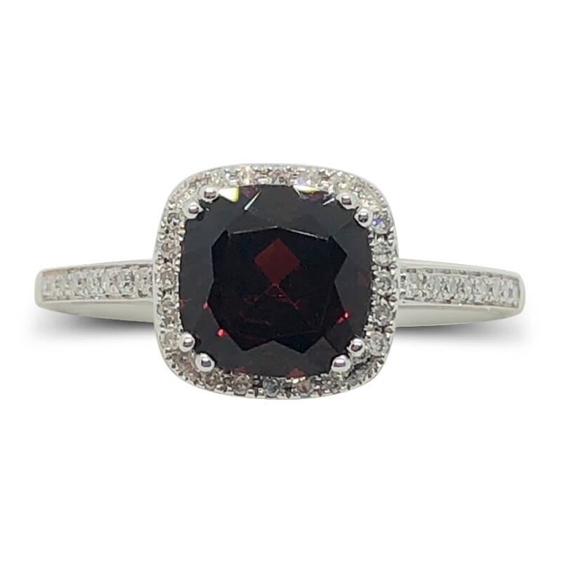 Garnet Diamond Halo Ring