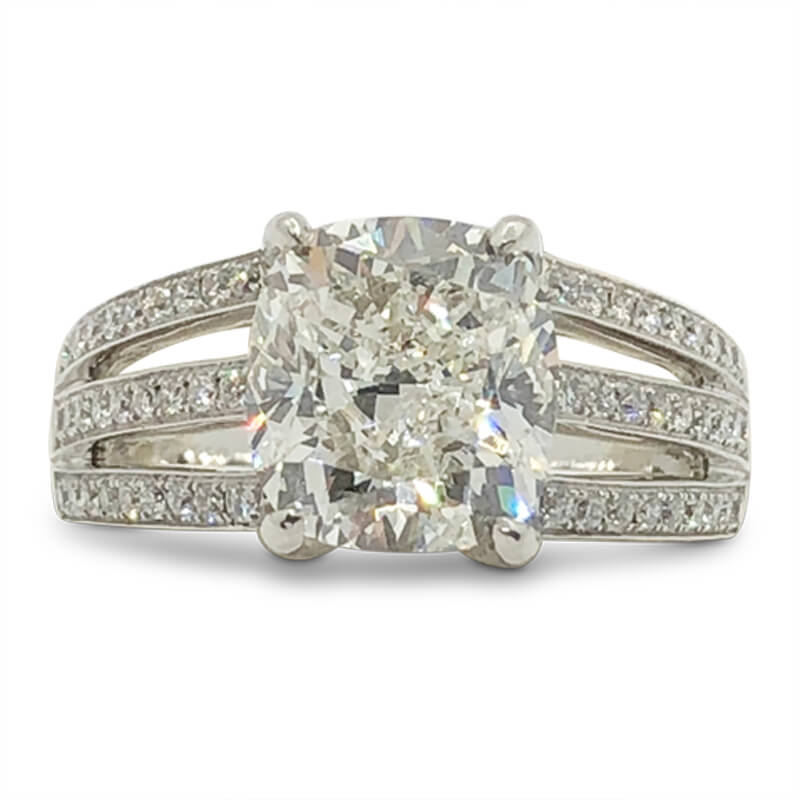 Triple Diamond Shank Cushion Cut Ring